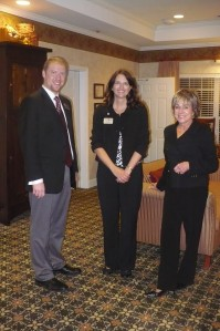 (L to R) Jason Hillner, Morning Pointe at Greenbriar Cove Executive Director Shari McQuistan, and Gail Lindsey at Fall Educational Series October 6, 2009