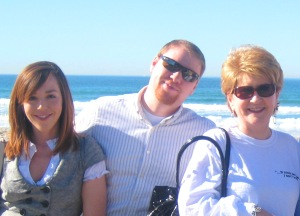 Jason Hillner, CLTC with his mom, Susan, and wife, Jennifer Van Kirk, in Pacific Beach, CA, January 2009.
