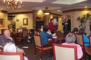 Jason Hillner, CLTC, answers questions from the audience at Morning Pointe -- Greenbriar Cove, October 6, 2009